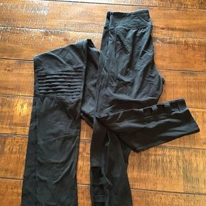 2 pairs of black stretch pants size L